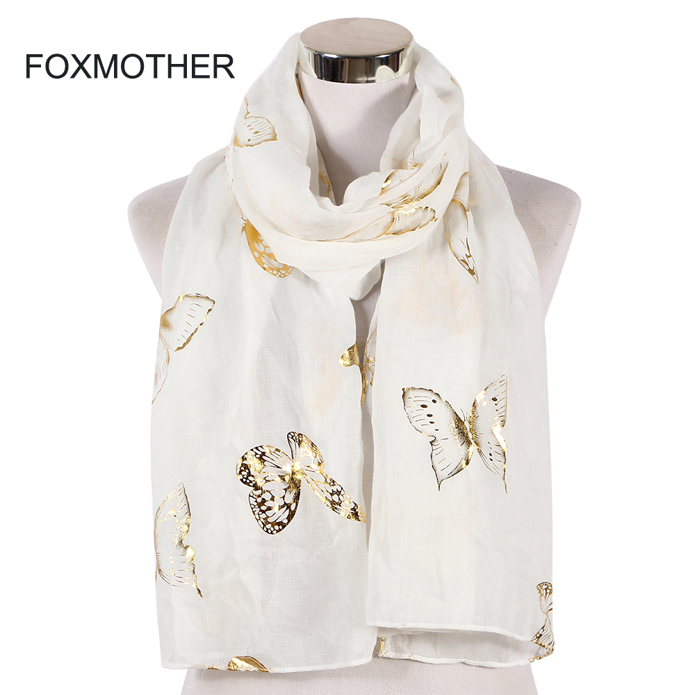 FOXMOTHER New Fashion Black White Foil Gold Butterfly Muslim Hijab Scarf Shawl Wrap Scarves Women Ladies