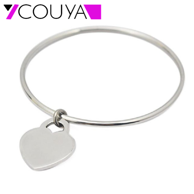 Heart Love Tag Bangle Jewelry for Women Luxury Jewelry Brand Pulseira Stainless Steel Bracelet & Bangle 60mm 65mm 70mm