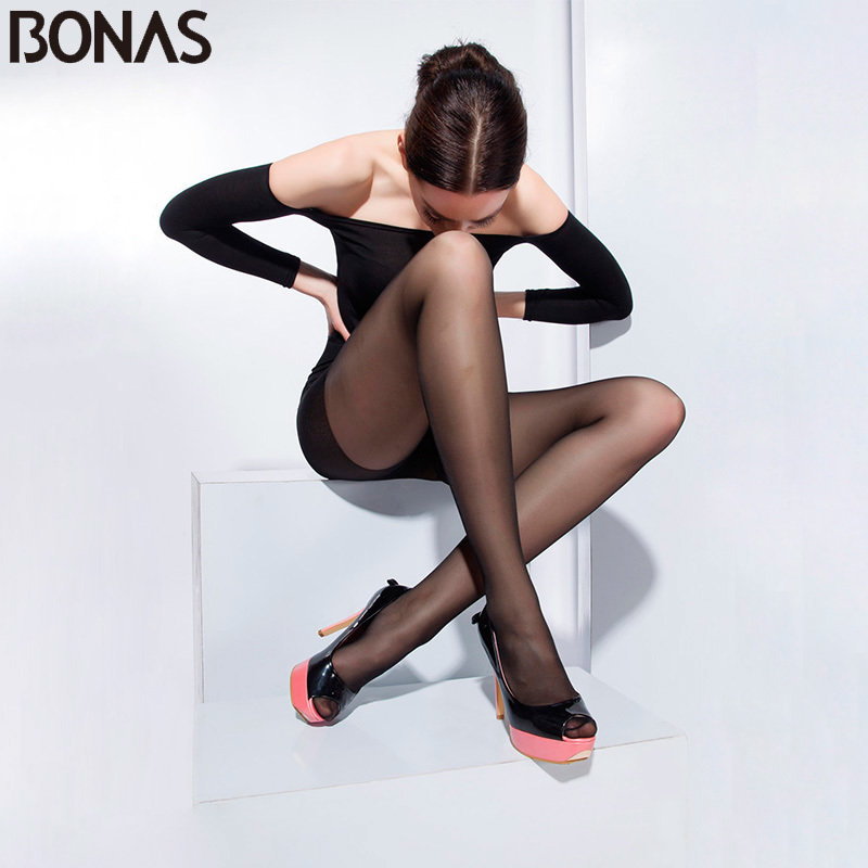BONAS Black Nylon Thin Pantyhose For Women Solid Color Fashion Slim Tights Summer Style Spandex Girls T Crotch Hosiery Seamless