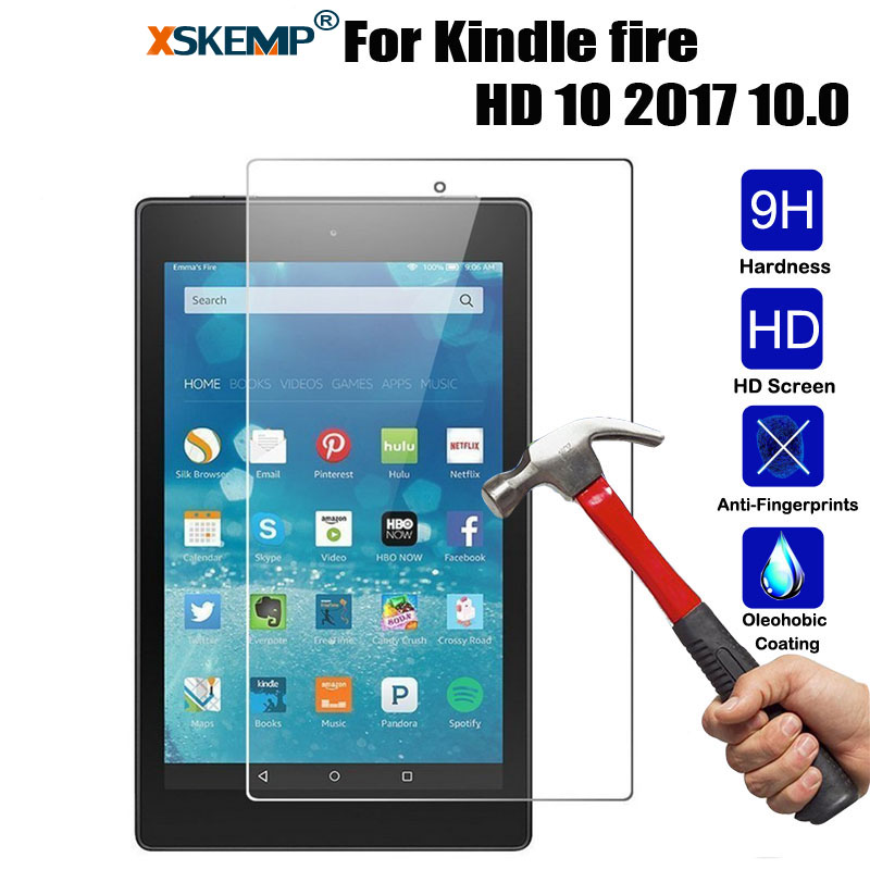 XSKEMP Amazon Kindle yangın HD 10 Için 9 H Temperli Cam 2017 10.0 inç Tablet Ekran Koruyucu 9 H Toughened Koruyucu Film Guard